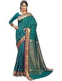 Craftsvilla Women's Silk Traditional Buti Zari Border Work Teal Green Saree With Blouse Piece