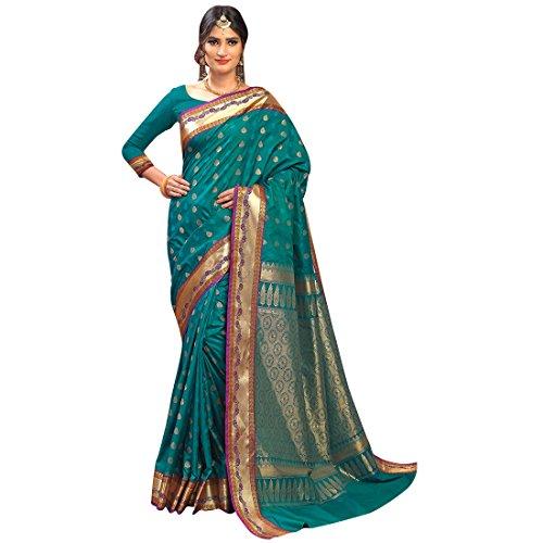 Craftsvilla Women's Silk Traditional Buti Zari Border Work Teal Green Saree with...
