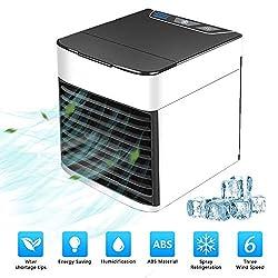 ZEHNHASE Mobile Klimaanlage, Klimageräte Ventilator Luftbefeuchter Luftreiniger Aromatherapie USB Mini Persönlicher Luftkühler 3 Geschwindigkeiten 7 Farben LED für Büro Haus