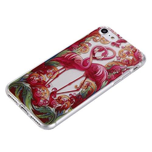 iphone 7 Hülle, iphone 7 Soft Case , Cozy Hut iphone 7 Backcover Silikon Schutzhülle im Weiß Datura Blumen Design Hülle aus TPU transparent Muster kratzfest - Crystal Clear Ultra Dünn Durchsichtige Ba Flamingo Paar