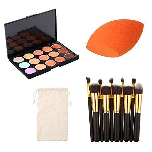 Make-Up Pinsel-Sets,Jaminy 15 Farbe Concealer Palette + 1 PC Schwamm Puff + 10 PCS Kosmetik Make-up...