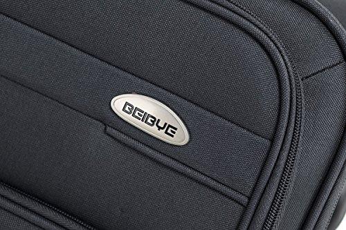 BEIBYE 4 Rollen Reisekoffer 8005 Stoffkoffer Gepäck Koffer Trolley SET-XL-L-M in 5 Farben (Grau, L) - 2
