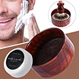Bol à savon de rasage, brosse de rasage professionnelle pour homme, crème de nettoyage, tasse à savon, spirale en caoutchouc, texture bois