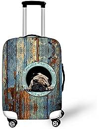 """thikin elegante de gato escondido perro impresión patrón maleta fundas resistente elástico Spandex equipaje de viaje equipaje carrito de protectores de Cover Caso Cubierta Protectora a Prueba de arañazos funda para 18""""-28"""" pulgadas (tamaño S, M, L), DOG2, L:26""""-28""""cover"""