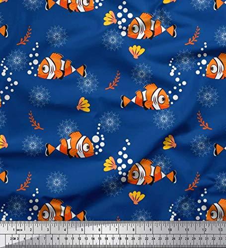 Blaue Seide Shell (Soimoi Blau Seide Stoff floral, Shell & Fisch Ozean Stoff drucken Meter 42 Zoll breit)
