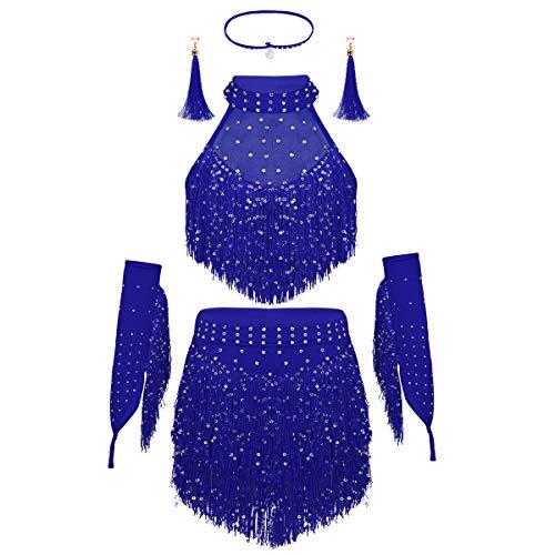 YiZYiF Kinder Pailletten Bekleidungsset Neckholder Tanzkleider Latein Ärmellose Top Quasten Rock Ohrringe Tanzostüm Outfits für Bauchtanz Rumba Salsa Tango Blau 152-164 -
