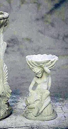 pompidu-living Wasserspeier, Mann auf Fisch, H 40, Steinfigur, Gartenfigur Farbe Terrakotta