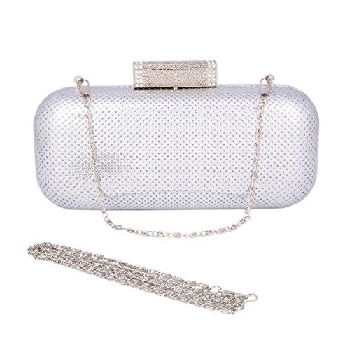 Day of Saturn Damen Einfarbige Clutch Rechteck Handtaschen Aus Glattleder Silber