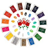 Funxim 15 Farben Stempelkissen Set, Fingerabdruck Stempelkissen Ungiftig Abwaschbar Tinte Stamp Pad für Papier Handwerk Stoff Malerei DIY Geburtstag Geschenk