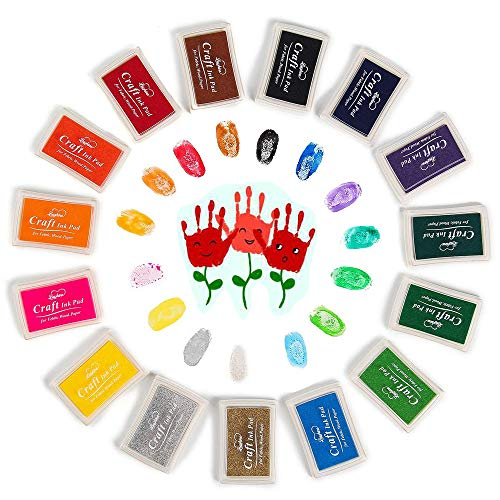 (Funxim 15 Farben Stempelkissen Set, Fingerabdruck Stempelkissen Ungiftig Abwaschbar Tinte Stamp Pad für Papier Handwerk Stoff Malerei DIY Geburtstag Geschenk)