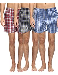 Joven Pack Of 3 Assorted Multi Color Cotton Checked Boxers - B014R3CUWG