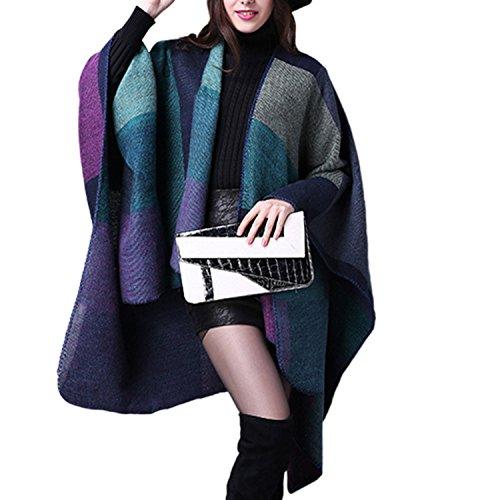 Inverno Reversibile Donna JLTPH Poncho Invernale da Donna Lavorato a Maglia Cachemire Poncho Capes Scialle Cardigan Maglione Cappotto color3