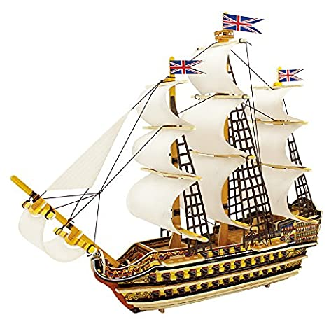 Robotime 3D Wooden Ship Model to Build Puzzle Boat with Sail Toy for Boys Victory