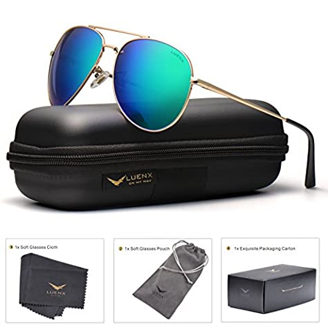 LUENX Aviator Polarisierte Sonnenbrille Damen Fahren mit Etui UV 400 Schutz Gold Rahmen Grün Linse (Gold Grün Sonnenbrille)