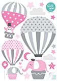 lovely label Wandsticker selbstklebend HEISSLUFTBALLONS ROSA/GRAU - Wandaufkleber Kinderzimmer/Babyzimmer mit Tieren - Wandtattoo Schlafzimmer Mädchen & Junge, Wanddeko Baby/Kinder