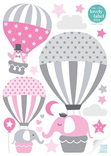 lovely label Wandsticker selbstklebend HEISSLUFTBALLONS ROSA/GRAU - Wandaufkleber Kinderzimmer / Babyzimmer mit Tieren in versch. Farben -...
