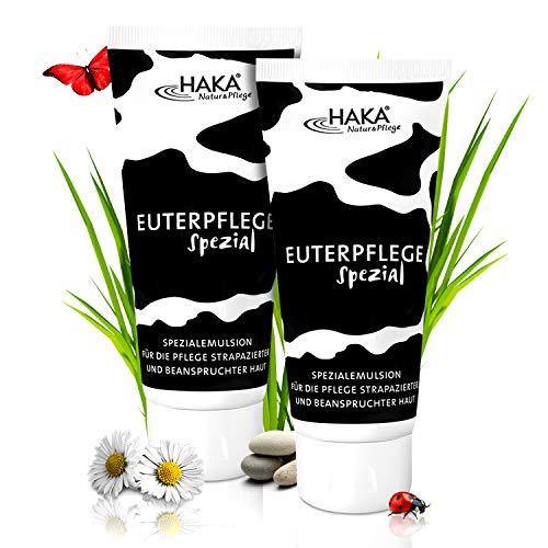 HAKA Euterpflege Spezial I 2x200 ml Feuchtigkeitscreme für raue, strapazierte Haut I Sanfte Pflegecreme für trockene Hände und beanspruchte Haut I Ohne Parfum