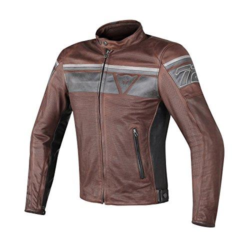Dainese-blackjack perf. giacca da moto in pelle, marrone scuro/nero/nero, taglia 52