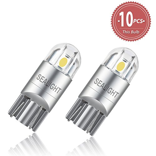 T10 3030 2SMD W5W 6000K Coche LED Bombillas SEALIGHT para Luces de Posición Laterales Luz de la placa del auto Blanco (Paquete de 10)