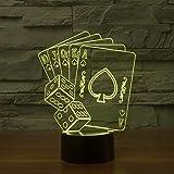 SUAVER 3D Illusion Créatif LED Veilleuse 7 Changement de couleur 3D Acrylique Tactile Lampe de Table pour Chambre Décoration (Poker 1)