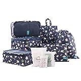 Tuscall Organisateurs Valise Sacs de Rangement pour Voyage Organiseurs de Bagage avec Housse à Chaussures - 6PCS (Flamingo)