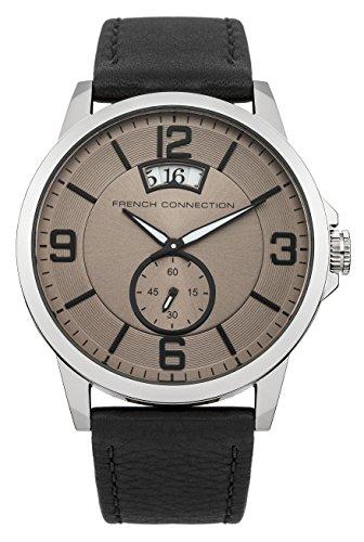 French Connection FC1209B - Reloj para hombres, correa de cuero color negro