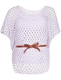 Purple Hanger - Top Femme Manche Chauve-Souris Encolure Crochet Ceinture Empiècement Filet Grande Taille