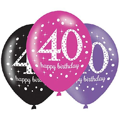 Amscan Geburtstag Latex-Luftballons Feier: 40. Happy Birthday Rosa, Lila und Schwarz 27,5 cm , 6 Stück