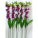 Sk Handloom Udyog Artificial Orchid Flower Bunch, 10 Stems for Home Decoration and Garden Decor, 45 cm (White and Purple)