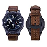 iBazal Gear S3 Frontier Armband Leder, Gear S3 Classic Armband 22mm Premium Soft Echtes Lederband Kompatibel Samsung Gear S3 Frontier/Classic SM-R760 [Vintage Serie] - Simple Braun