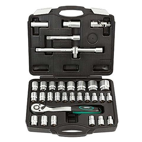 Jeu de clés à douille 32pcs   WIESEMANN 80096   acier au chrome-vanadium   inserts de douilles   1/2