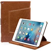 iPad Pro Cover - LEICKE® MANNA Pregiata custodia Folio Smart Case per Apple iPad Pro 12.9 colore marrone con funzione EasyStand