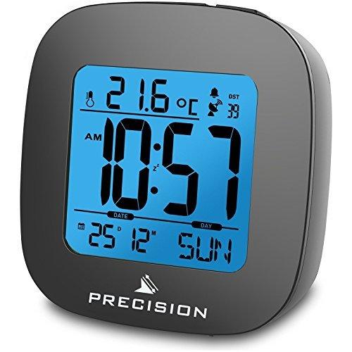 Precision Radio Controlled LCD Backlit Alarm Date Temperature Clock. by Precision (Lcd Clock Radio)