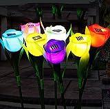 8 Set LED Solarleuchte Solarbetriebene Gartenleuchte Energie sparende Solarlampe Bunt Tulpen Wasserdicht IP65 Außenleuchte Bodeneinbauleuchte für Outdoor Garten