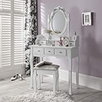 Laura James Capri White Dressing Table, Mirror & Stool Set