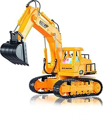 Ferngesteuerter Bagger - Voll funktionsfähiger RC-Spielzeug-Bagger mit 7 Kanälen, Lichtern und Geräuschen - Fernsteuerungs auto von ThinkGizmos (geschützte Marke) von ThinkGizmos