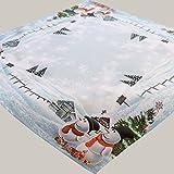 Kamaca Serie Frosty Snowman Hochwertiges Druck-Motiv - EIN Schmuckstück zu Winter Weihnachten (Mitteldecke 85x85 cm)