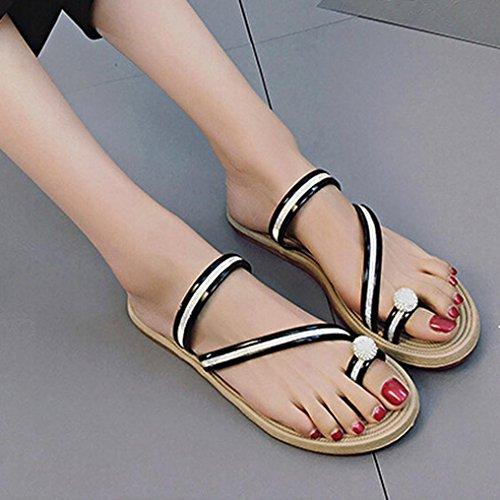 Neue Sandalen Damen,Kaiki Frauen Flip Flops Pantoffeln flache Sandalen Sommer Beach Casual Schuhe Black