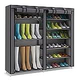 UDEAR 7 Schicht Schuhablage Schuhregal Schuhschrank Schuhe Regal Organizer mit Staubdicht Textil Grau Stiefel Stil