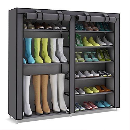 UDEAR Shoes rack organizador de tela de zapatos, Zapatero 7 pisos con resistente al polvo Zapato del gabinete, Gris, Sezione Stivali