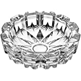 Premium Quality Crystal Glass Ash Tray | Round Tabletop | Glass Ashtray | Smoke Collectible | Glass Tray | Cigar Tray Tribal Decoration | Tabletop Ashtray Indoor Outdoor Use Cigarette Cigar Ash Holder Desktop Smoking For Home Or Office Gifts For Men || By