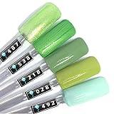 Color Gel 5er Set (je 5ml): Green Mix - Gel Grün, Gel Grasgrün, Gel Hellgrün, Gel Grünglitter