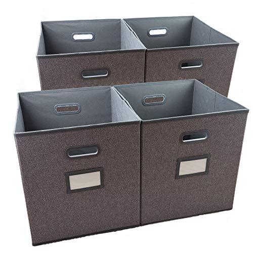 JolieBox 4-er Set faltbare Aufbewahrungsboxen ohne Deckel , mit Etikettenhalter, Graue Bio-Leinen