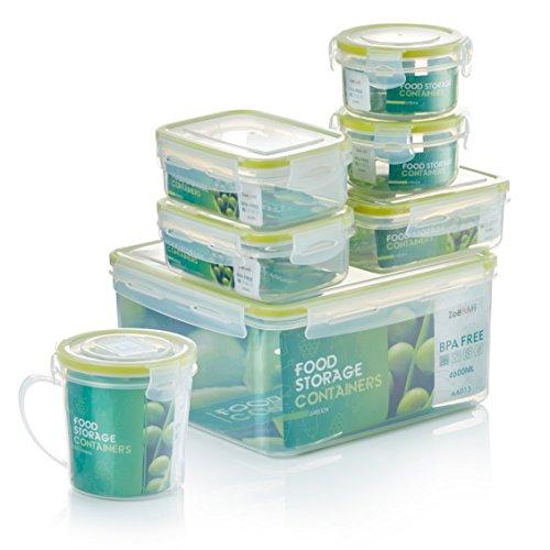 Zoë&Mii Premium 7 Teilige Smart Lock, Deckel, Frischhaltedosen Set, Dosen, Vorratsdosen, Plastikboxen, klick, Luftdicht Deckel,Boxen, Dosen,Set,Food Container, Vesperbox