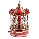 MagiDeal Schöne Karussell Spieluhr / Spieldose aus Holz, Uhrwerk Spielzeug, Dekoration für Weihnachten, Cafés, Buchladen, Wohnzimmer, Hochzeit - Rot
