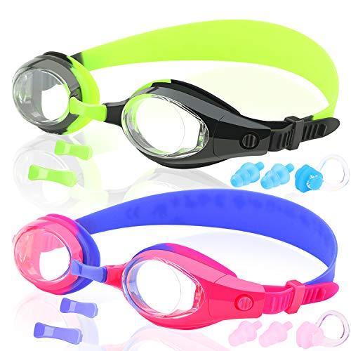 COOLOO [ 2-Pack ] Kinder Schwimmen Schwimmbrille, 2 Stück, Schwimmbrille für Kinder, Frühe Teenager, Junior, Mädchen und Jungen von 3 bis 15 Jahren, Anti-Fog, wasserdicht, UV-Schutz, hergestellt