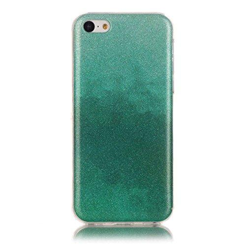 Apple iPhone 5C Hülle,Apple iPhone 5C Case,Cozy Hut® TPU Case Schutzhülle Protection Protective Haut und Soft Schutz Tasche Etui Bumper Farbmalerei Blau Kleine Sterne Punkt Muster Design Stil für Appl Dunkelgrün grün