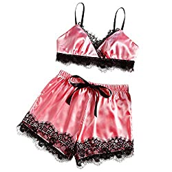 Frauen Sexy Dessous Spitze Bh Hosen Set Sling Shorts Weiche Pyjamas Set Halfter Kleid Komfort Pyjamas Slip Set (EU:44, Dunkelrot)