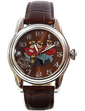 Disney Uhr Automatikuhr Panzerknacker silber Damenuhr Lederband Sammleruhr