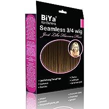 BiYa Hair Elements Demi perruque 3/4 à clipser Extensions longueur épaules, châtain moyen numéro 6